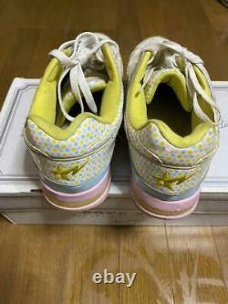 A Bathing Ape Bapesta Sneaker Shoes Blanc X Rose Us9.5 Utilisé Du Japon F/s
