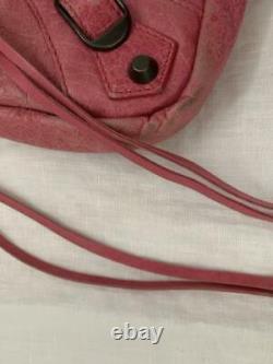 Auth Balenciaga Sac À Main 2way Sac Purse Cuir Rose Utilisé Du Japon
