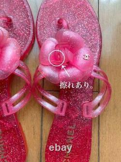 Auth Chanel CC Camellia Jelly Flip Sandales En Flop Rose Taille 37 Utilisé Du Japon F/s