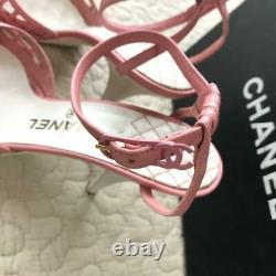 Auth Chanel CC Ceinture De Cheville Sandales En Cuir Rose Taille37 Utilisé Du Japon F/s