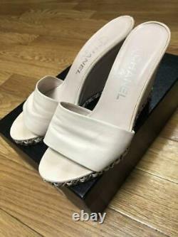 Auth Chanel CC Chain Mule Wedge Sandals Taille36.5 Rose Beige Utilisé Au Japon F/s