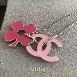 Auth Chanel Pink CC Clover Charm Chaîne Bracelet Or Utilisé Du Japon F/s