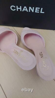 Auth Chanel Quilted Leather Mule Wedge Sandals Size36 1/2 Pink Used From Japan