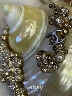 Auth Chanel Shell Charm Collier Rose Et Blanc Perle Utilisé Du Japon F/s