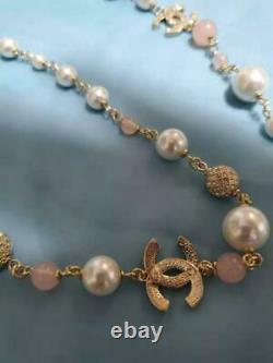 Auth Chanel Strass CC Pearl Pink Beads Gold Ball Collier Utilisé À Partir Du Japon Fs
