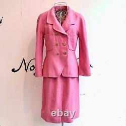Auth Chanel Tweed Suit Rose Gold Vintage Du Japon