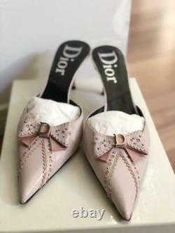Auth Christian Dior Mules Sandales Rose Bow D Logo Taille Eur 37.5 Utilisé Du Japon