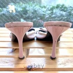Auth Christian Dior Sandales Talons Cuir Rose Vintage Du Japon