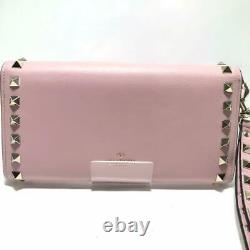 Auth Valentino Garavani Rockstud Long Wallet Withstrap Pink Used From Japan