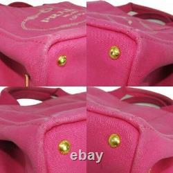 Authentic Prada Canapa Mini Sac À Main 2way Logo Rose Femmes Du Japon