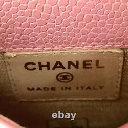 Authentique Logo Chanel CC Pink Caviar Leather Phone Pouch Import From Japan