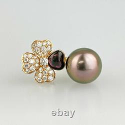 Bague En Or Rose 18k 750 Black Butterfly Pearl Diamond Du Japon
