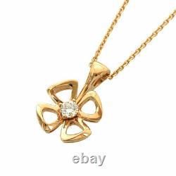 Bvlgari Fiorever Or Rose 18k (750) Collier De Fleur De Diamant Nettoyé Du Japon