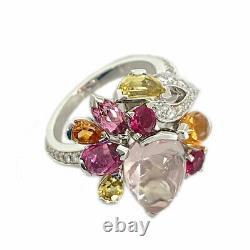 Cartier Delice K18wg Diamant Rose Quartz Ruby Tourmaline Garnet Beryl De Japon