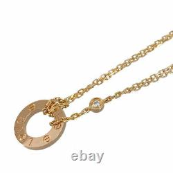 Cartier Love Cercle 18k Pink Gold (750) Diamond 2p Cleaned Necklace From Japan