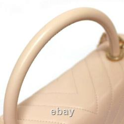 Chanel Coco Handle 2way Bag V Stitch Calf Leather Pink Beige #52981 Du Japon