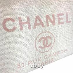 Chanel Deauville MM A67001 Sac De Sac En Cuir Rose Blanc En Toile Du Japon