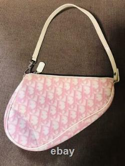 Christian Dior Auth Canvas X Leather Trotter Saddle Bag Rose Utilisé Du Japon