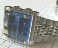 Citizen Digi Ana Temp Large Case 1481010 Rare Cadran Bleu Du Japon Livraison Gratuite