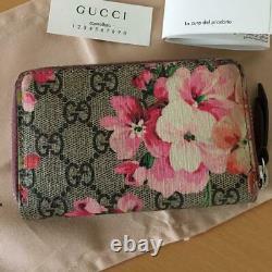 Gucci Gg Blooms Case De Carte Coin Purse Case Zippy Wallet Floral Rose Du Japon