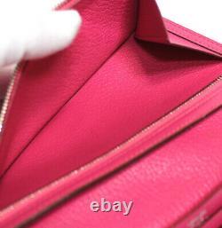 Hermes Bearn Chevre Leather Trifold Long Wallet Fuchsia #49490 Du Japon
