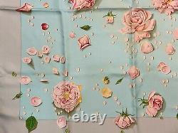 Hermes Rose Motif 100% Soie Carre Écharpe 90cm Vert Clair Du Japon #2540