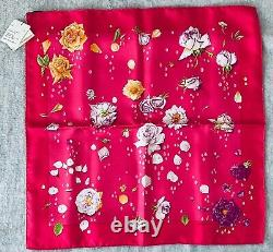 Hermès Rose Motif Carre En Soie Petite Écharpe 42cm Rose En Boîte Du Japon #2082