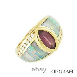 Kabana 14k Rhodolite Garnet Opal Diamond 49 Anneau Nettoyé Du Japon