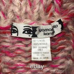 Kansai Yamamoto Big Kint Sweater Laine Mohair Rose Homme Vintage Rare Du Japon