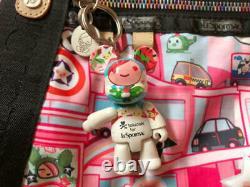 Lesportsac Tokidoki Boston Sac Pink Bear Charm Rainbow Zip Limited Du Japon