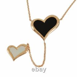 Piaget Limelight 18k Pink Gold Onyx Shell Heart Cleaned Necklace From Japan