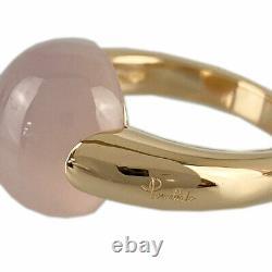 Pomellato 18k Pink Gold (750) Luna Rose Quartz Nettoyé Anneau Du Japon