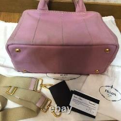 Prada Auth Canapa Denim Tote Bag Sac À Épaule Alabastro Rose Utilisé Du Japon