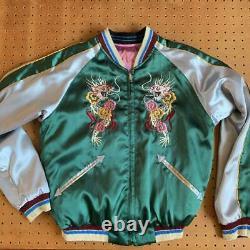 Size Sukajan Homme S Rose Vert Réversible Tigres & Dragons Vintage Du Japon
