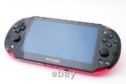 Sony Ps Vita Rose Noir Mince Pch-2000 Avec Chargeur Et Boîte Du Japon Excellent