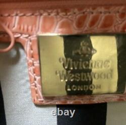 Vivienne Westwood Sac À Épaule Coeur Croco Embossed Rose Du Japon F/s